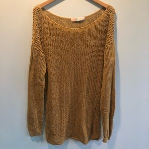 Free People | Mustard Open Knit Tunic Sweater